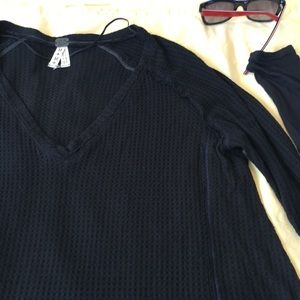 Free People V-neck Waffle Knit Pullover Black Top
